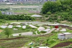 長野県 姨捨 棚田の風景