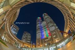 都庁オリンピック1000日前ライトアップ