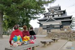 三人娘と松江城