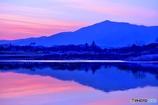 夕日に染まった相模川