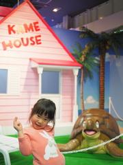 亀ハウスにてウミガメと一緒に
