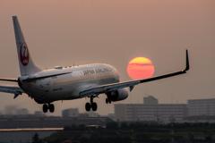 焼けない夕焼け。。  「Boeing 737-800」