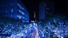 六本木ヒルズ夜景、東京タワー、光跡