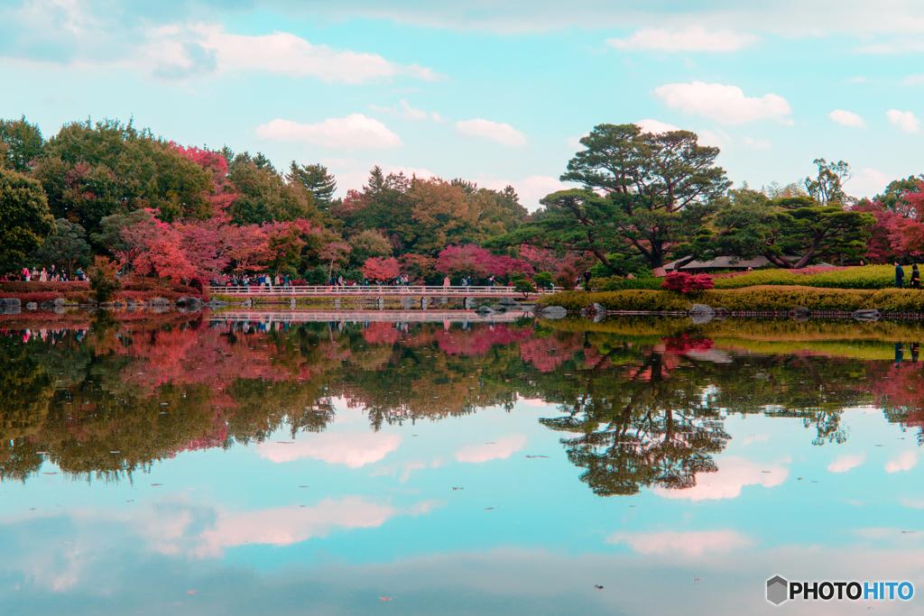 秋色の空にかかる橋