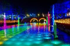 光と噴水の運河 ~ハウステンボスの夜景Ⅱ~