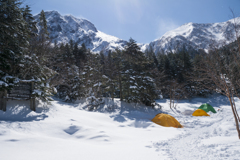 厳冬期の八ヶ岳、赤岳と行者小屋のテント場