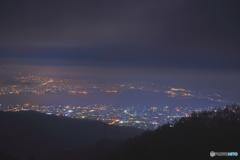 諏訪湖と街明かり