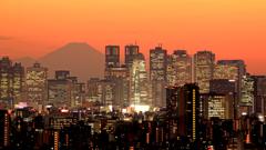 新宿と夕焼け空と富士山と