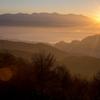 諏訪湖照らす朝日
