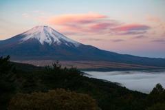 朝焼け富士・雲海付き
