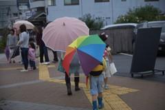 秋雨の中の華