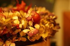 アジサイが姫りんごにキスをした