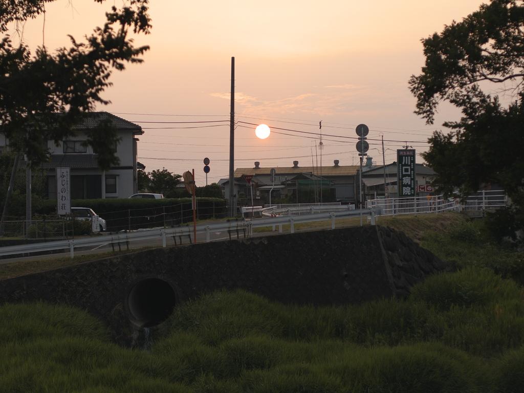 公園より望む夕日.