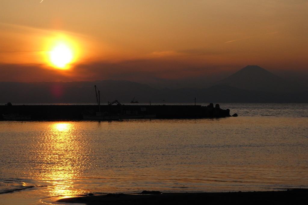 三戸海岸の夕日2