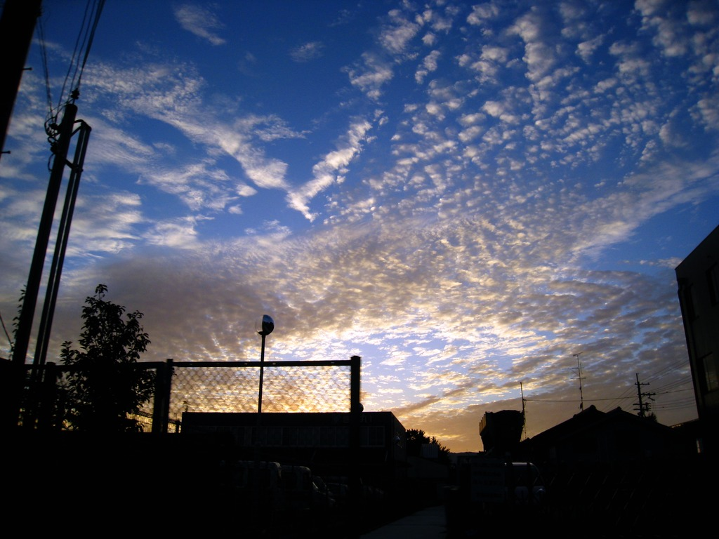 夕焼けと青空