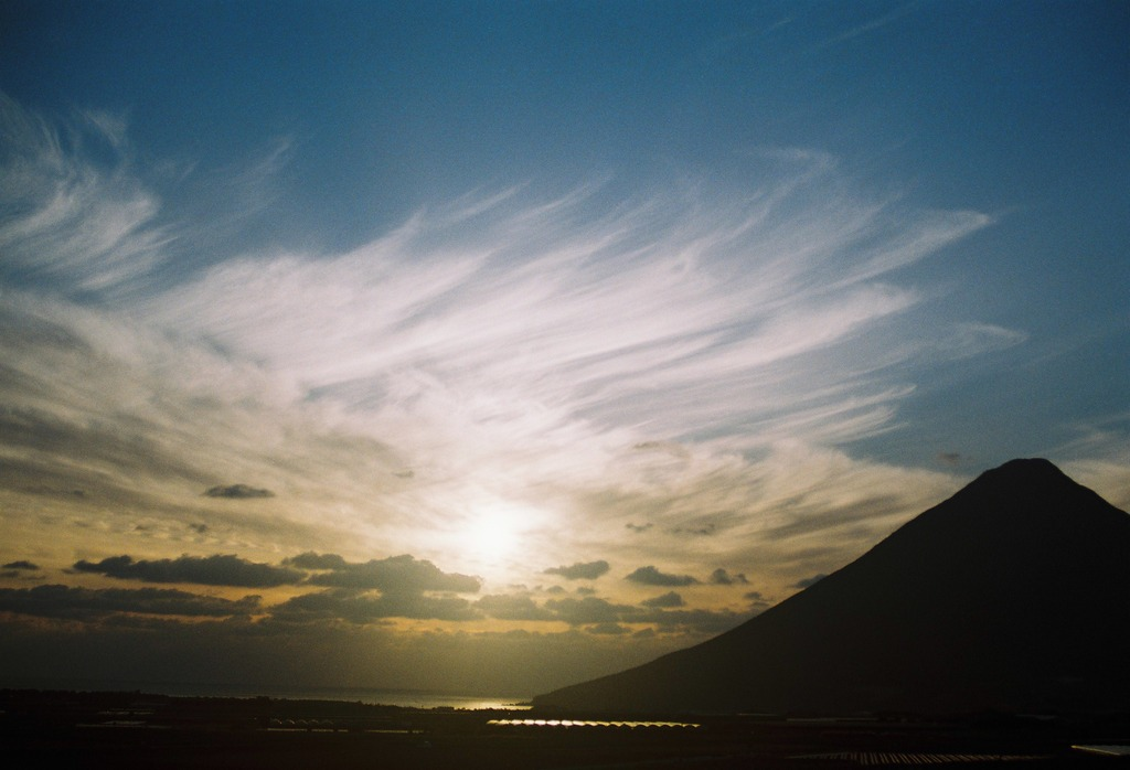 開聞岳の夕日