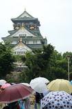 雨の大阪城