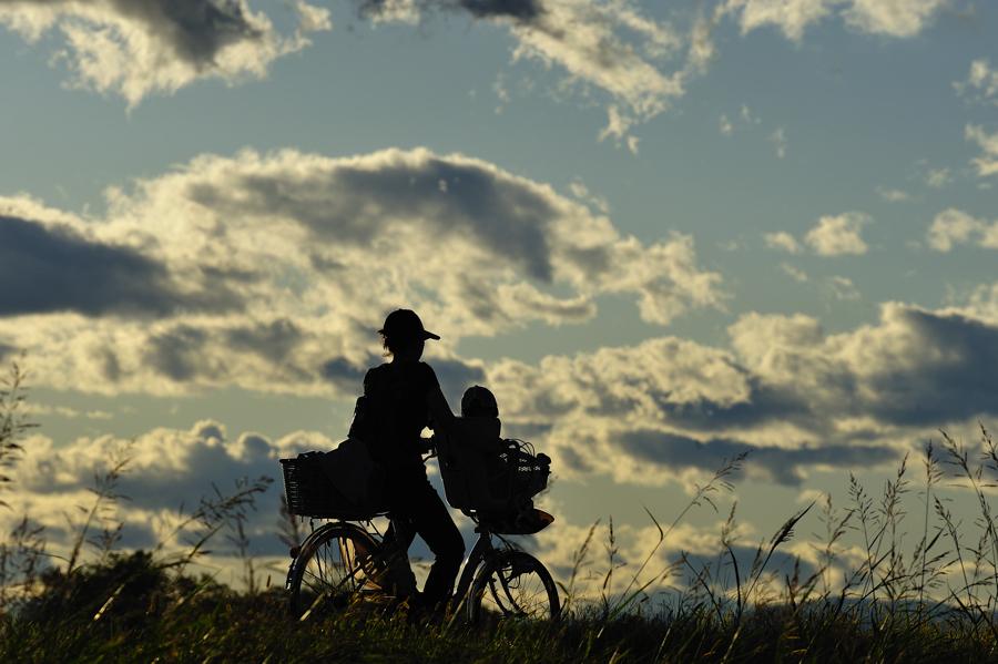 二人でサイクリング。