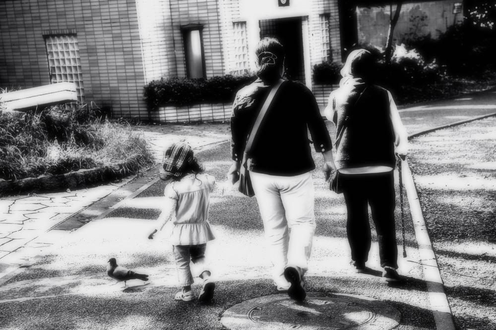親子三代と鳩一羽。