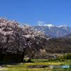 南アルプスと春