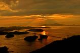 来島海峡大橋の夕焼け