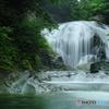 小雨降る関山大滝