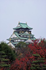 曇り空の大阪城