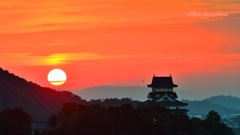 犬山城 日暮れ
