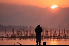名峰白馬岳からの朝日