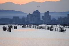 七尾湾の夜明け