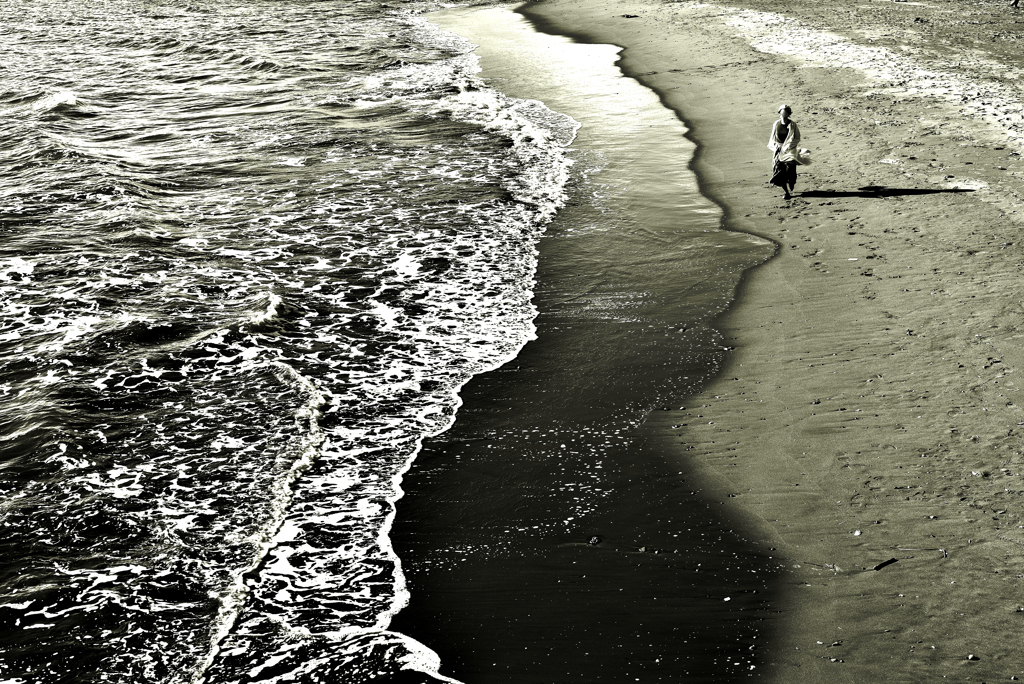 海辺にて。