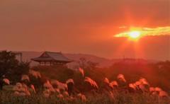 夕日がのぞき込む古都