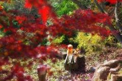 赤い葉っぱに赤毛