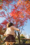 秋空を仰ぐ少女