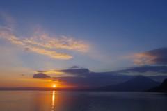 平成30年元旦 錦江湾に陽が昇る
