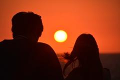 船上の夕陽♪