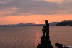 宍道湖の夕日 袖師地蔵