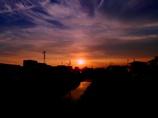 猿渡川の夕陽 @里町