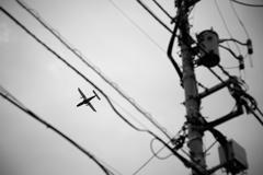 日本の日常 離島へ向かう旅客機