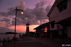 海辺の夕暮れ時