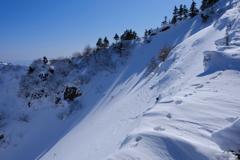 雪に足跡、獣の気配