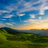 夕暮れの高原