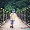 水泳帽で吊り橋を・・・♪