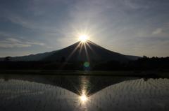 田んぼに写る逆さ富士