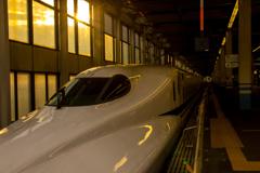 夕日と新幹線