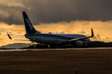 夕焼け空の広島空港