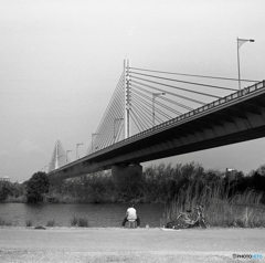 橋とワンドと釣り人と