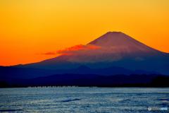夕日染まる富士