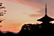 京の街、夕景