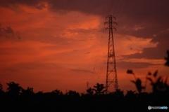 鉄塔の夕暮れ
